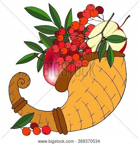 Horn Of Abundance With Autumnal Fruits, Vector Illustration, Isolate On A White Background