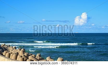 Great View Of The Atlantic Ocean With Powerful Shoreline Reinforcement In Casablanca, Morocco