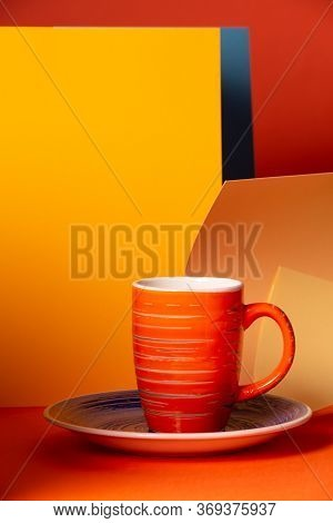 Abstract Geometric Background Using Orange, Yellow And Cap