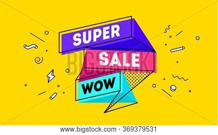 Super Sale. 3d Sale Banner With Text Super Sale For Emotion, Motivation. Modern 3d Colorful Web Temp
