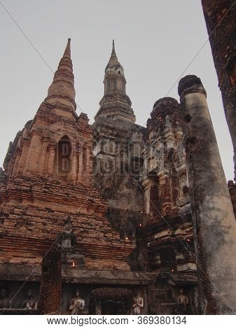 Wat Mahathat Temple, Sukhothai Province Is A Temple In The Area Of Sukhothai Since Ancient Times Wat