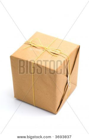 Parcel Wrapped In Brown Paper And Tied.