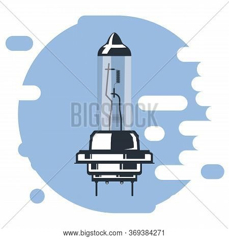 Halogen Car Lighting Bulb. Illustration Of Car Light Bulb Icon. Vector Illustration.