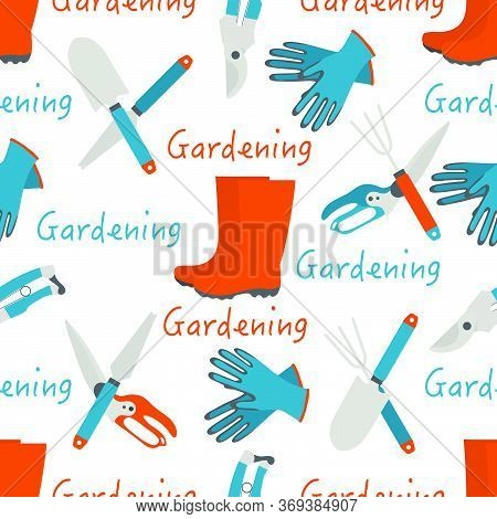 Vector Seamless Pattern Illustration With Gardening Tools And Rubber Boots. Gardening. Garden Equipm