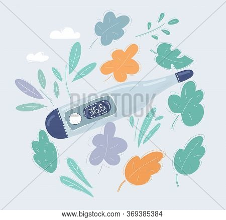 Vector Illustration Of Electronic Thermometer On White