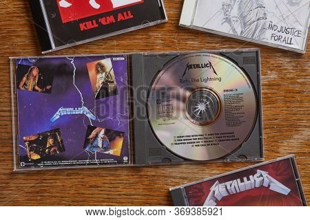 BUDAPEST, HUNGARY - MARCH 21, 2018: Metallica Ride The Lightning CD release, one of the most classic metal albums from the 80s, in collection with other albums