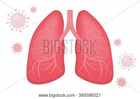 Flat Vector Illustration Of Healthy Human Lungs Without Viral Pneumonia Surrounded With Covid. The D