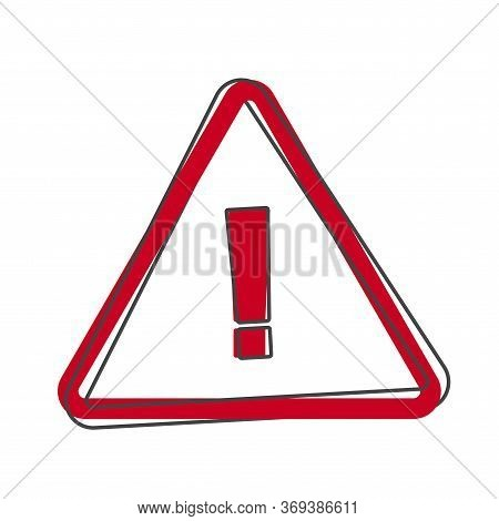 Danger Sign Flat Icon On White Background . Vector Symbol Of Attention Caution. Exclamation Hazard W