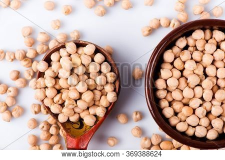 Chickpeas Close-up. Chickpeas On A White Background