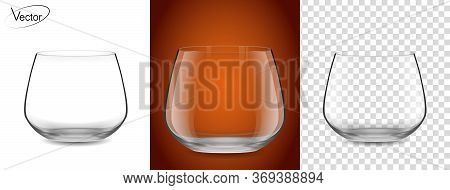 Empty Glass On A Transparent Background And On A Cognac Background. Realistic, Highly Detailed Layou