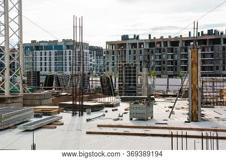 Large Scale Construction Site Featuring The Foundation Of What Will Be A Large Skyscraper. Building