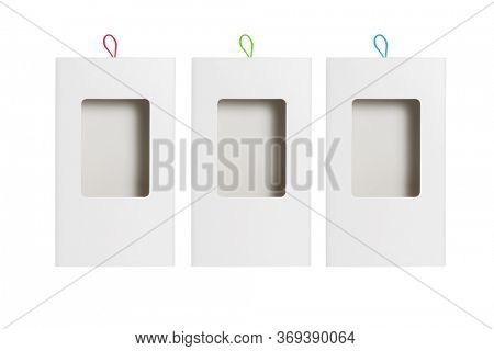 Paper Box with Plastic Transparent Window on White Background