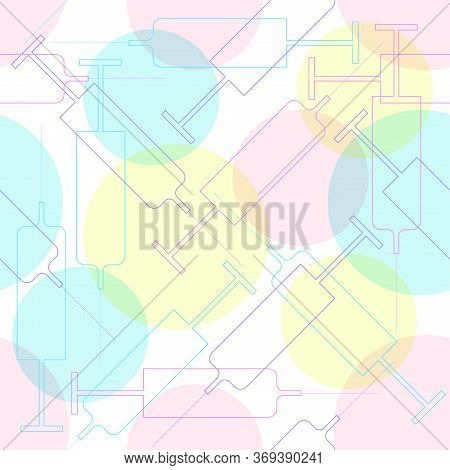 Vector Seamless Ornament With Colourful Syringes And Pink, Yellow And Sky Blue Circles, Repeating Ba