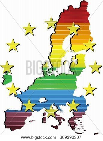 Shiny Map Of European Union In Colors Of Pride Flag - Illustration,  Three Dimensional Map Of Europe