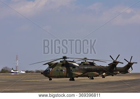Military Atlas Oryx Helicopters Parked On Airfield, Pretoria, South Africa