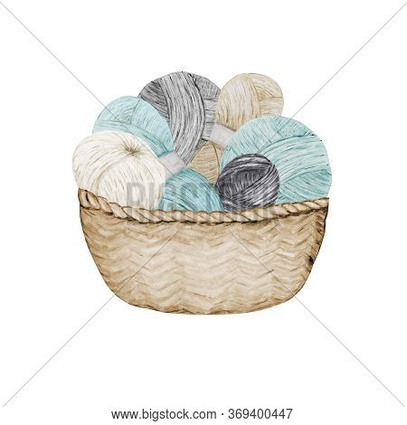 Crocheting Knitting Shop Logotype, Branding, Avatar Composition Of Yarns Balls In Wicker Basket . Bl