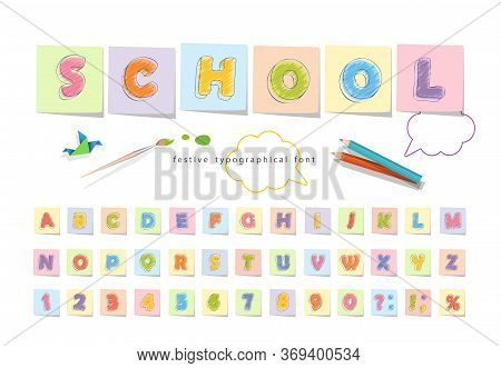 Font Pencil Crayon For Kids. Handwritten, Scribble. Vector