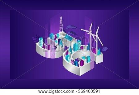 Concept Of 5g Network Generation. Futuristic City With 5g Internet Covering With Alternative Energy