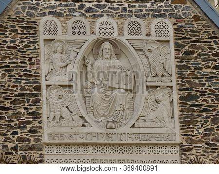 Clervaux Parish Church Frontal Decoration - Jesus With Apostles. In Luxembourg, Eislek. Latin Text S
