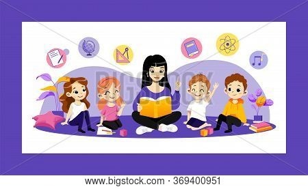 Education In Kindergarten And Back To School Concept. Young Cheerful Teacher Reading Book To Childre