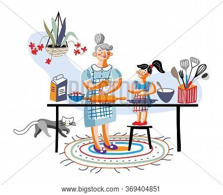 Happy Grandma And Granddaughter Cooking Together. Kitchen Interior With Utensils On Table. Grandmoth