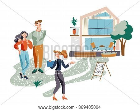 Realtor Showing House Flat Vector Illustration. Real Estate Agent Cartoon Character. Broker And Clie