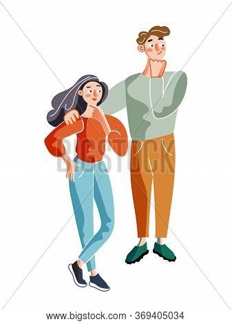 Thinking Man And Woman Flat Illustration. Buy Pondering, Decision-making Concept. Young Couple Mulli