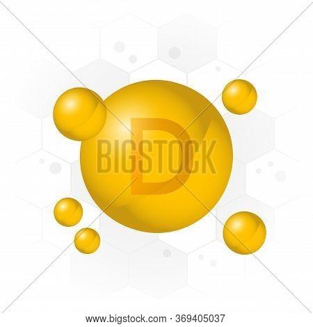 Vitamin D Icon. Golden Bubble On Hexagon Background. Vector Illustration