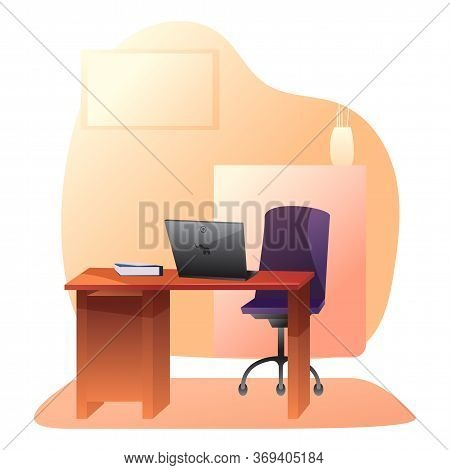 Empty Private Office Flat Vector Illustration. Ceo, Boss, Manager Workplace Drawing. Worker, Employe
