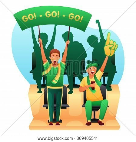 Cartoon Male Sport Fans Holding Go-go Banner, Baseball Glove And Wearing Scarf Cheering. Guys Charac