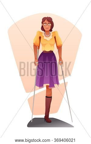Woman With Amputated Leg Flat Vector Illustration. Injured Girl With Metal Crutches Clipart. Patient