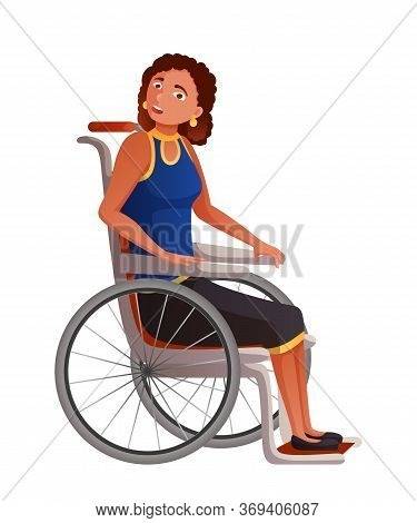 Young Woman In Wheelchair Flat Vector Illustration. Sad Disabled, Handicapped Girl Cartoon Character