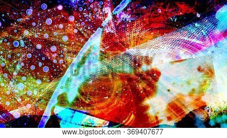Incredible Swirling Space Supernova With Abstract Mesh Spaceship Surface - Abstract Background Textu