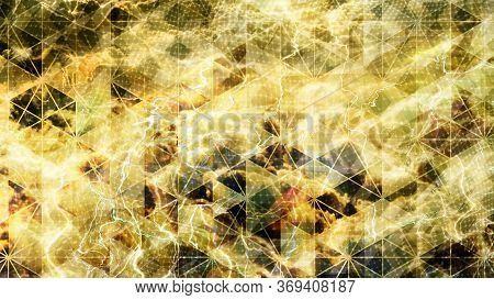 Yellow Geometric Pattern With Warped Electric Thunderbolts - Abstract Background Texture