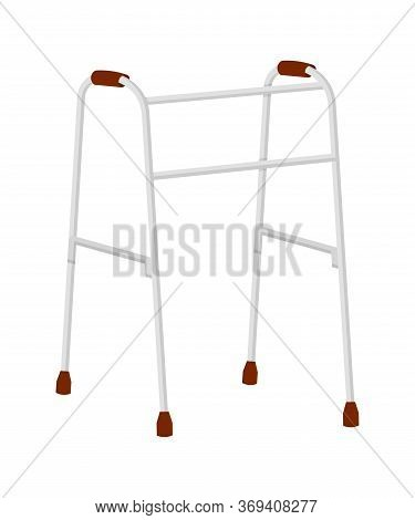 Cartoon Walkers For Adults, Disabled And Elderly People Isolated On White Backdrop. Mobility And Tra