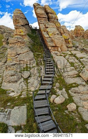 Rock Formations And Staircase In The Mongolia 13th Century National Park Built As A  Whole Village I