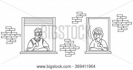 Stay Home Elderly Couple. Elderly Couple Looking For A House. The Facade Of The House With Open Wind