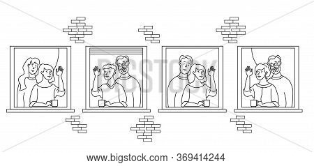 Elderly Couple Looking For A House. Windows With People Neighbors. Elderly And Young Married Couples