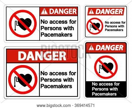 Danger No Access For Persons With Pacemaker Symbol Sign On White Background