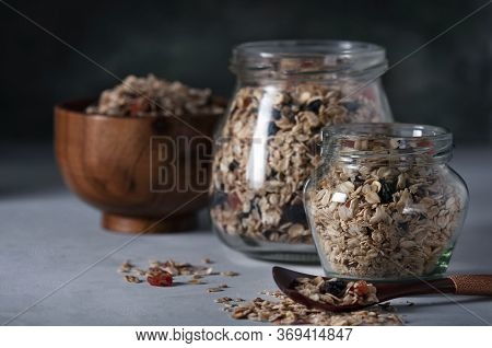 Homemade Granola With Raisins, Dried Apricots And Nuts. Granola With Raisins, Dried Apricots, Nuts,