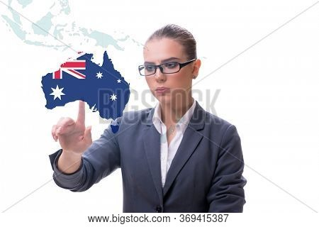 Concept of immigration to Australia with virtual button pressing