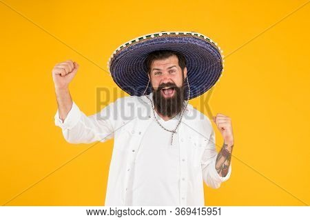 National Holidays. Mexican Celebration. Travel To Mexico. Man In Mexican Hat. Guy Cheerful Festive M
