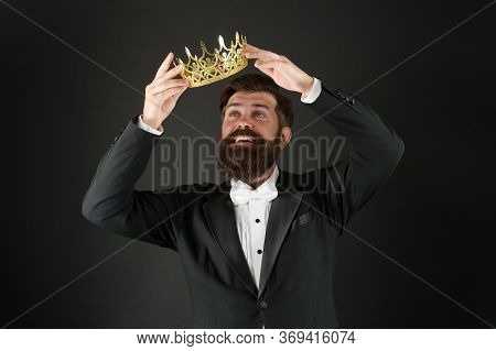 Responsibility Being King. Handsome Bearded Smiling Guy King. King Crown. Egoist Selfish Man. Impost