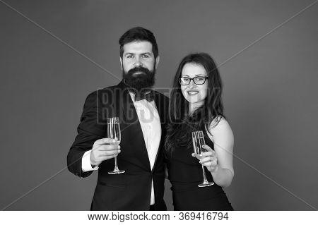 Keep Calm And Celebrate On. Happy Couple Enjoy Celebrating Red Background. Celebrating Valentines Da