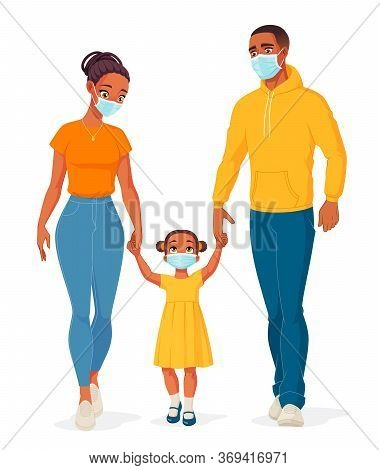 African American Family Wearing Masks To Protect From Covid-19. Vector Illustration.