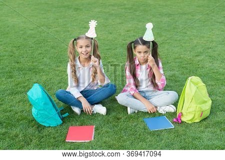 Express Different Emotions. Funny And Happy Sisters With Party Attributes. Writing Girlish Diary. Ch