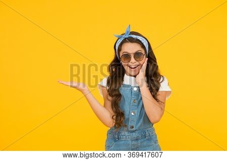 Summer Shopping Sales. Pin Up Kid. Happy Childrens Day. Cheerful Vintage Girl On Yellow Background.