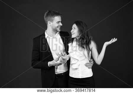 Surprise. Flirting And Dating. Love And Romance. Gift With Love. Couple On Romantic Date. Formal Cou