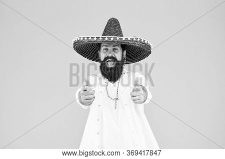 Fest And Holiday. Celebrate Traditions. Hipster Looks Festive In Sombrero. Celebrating Fiesta. Happy
