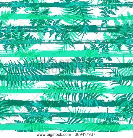 Exotic New Zealand Fern Frond And Bracken Grass Overlaying Stripes Vector Seamless Pattern. Bali Exo